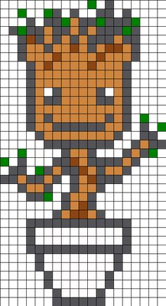 Baby Groot Templates for Cross-stitch or Hama Beads Templates. Perler Bead Designs, Pearler Bead Patterns, Perler Bead Art, Perler Patterns, Perler Beads, Kandi Patterns, Hama Beads Disney, Hama Beads Design, Peyote Patterns