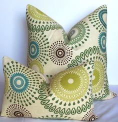 Decorative pillow cover 20 x 20 Matelasse suzani throw pillow teal - green - kiwi - slate blue -  brown. $42.00, via Etsy.