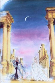 Princess Serenity and Black Lady - Bishoujo Senshi Sailor Moon (Source: Naoko Takeuchi) Sailor Moons, Sailor Moon Manga, Sailor Moon Crystal, Arte Sailor Moon, Sailor Venus, Sailor Pluto, Neo Queen Serenity, Princess Serenity, Princesa Serena