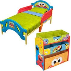 Sesame Street Toddler Bed and Multi Bin Organizer Bundle! I want this for Lyric's room :) She is inlove with Sesame Street, especially Elmo! Kids Bench, Kids Sofa, Teen Bedroom Furniture, Kids Furniture, Street Furniture, Furniture Storage, Sleep Safe Bed, Kids Storage Units, Storage Area