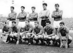 Azzurri to face Belgium in May, 1962.  Cesare Maldini, Sandro Salvadore, Gianni Rivera, Carlo Mattrel, Giorgio Ferrini; Giacomo Losi, Jose Altafini, Luigi Radice, Giovanni Trapattoni, Omar Sivori und Giampaolo Menichelli.