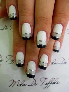 White French Nails, Black And White Nail Art, White Nails, Black White, White Manicure, Black Silver, French Grey, Black Nails, Long Black