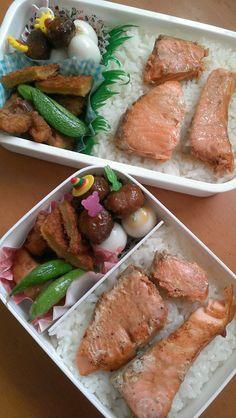 2017.4.28 鮭弁当(ミンチボール&うずら ヒッシュカツ 唐揚げ)
