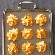 Mini Gruyere Puffs - Freeze these light-and-puffy appetizers for up to one month -- the two-cheese, basil, flour, and egg mixture will warm up nicely just 15 minutes before your event. See Mini Gruyere Puffs recipe Make Ahead Appetizers, Thanksgiving Appetizers, Healthy Appetizers, Appetizers For Party, Thanksgiving Recipes, Appetizer Recipes, Holiday Recipes, Thanksgiving Sides, Crab Appetizer