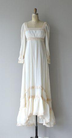 Vintage 1970s cream cotton gauze dress with darker cream crochet trim, empire waist, square neckline, lace cuffs and back zipper. --- M E A S U R E M