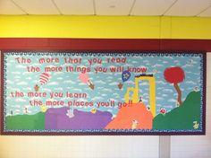 Our Dr. Seuss Bulletin Board.... for Read Across America Day, March 2nd.  (Also Dr. Seuss' birthday).     Designed by Amy Woodsmall Holiday Bulletin Boards, Bulletin Board Design, Classroom Door, Primary Classroom, School Classroom, Classroom Ideas, Dr Seuss Art, Read Across America Day, Library Boards