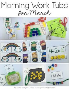 March Morning Work Tubs | Let your Kindergarten students work on rhyming leprechauns, St. Patrick's Day, rainbows, cutting, consonants, colors, subtraction, letter writing, tranfer of pom poms, word building, graphing, echo drawing, letter match, color by number, counting, CVC words, number mats, puzzles, scrambled up sentences, missing numbers, and push pin pages with this great download. Click through to see more images and learn more now!