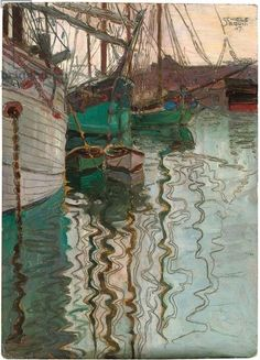 Egon Schiele (Austrian, Expressionism, 1890-1918): Port of Trieste, 1907. Oil & pencil on cardboard