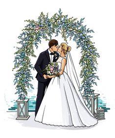Wedding Drawing, Wedding Art, Wedding Images, Wedding Couples, Wedding Pictures, Wedding Dress Illustrations, Wedding Dress Sketches, Wedding Illustration, Shower Dress For Bride