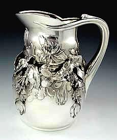 Tiffany antique sterling silver tropical pitcher circa 1890 designed by John T Curran