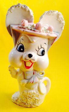 Fun! Spaghetti Bunny Rabbit or Mouse Vintage Figurine Japan Retro Kitsch Cute