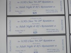 Tickets for the events.