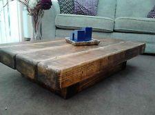 Pedestal rustic sleeper beam coffee table in rugger brown (120cm x 60cm 25cm)