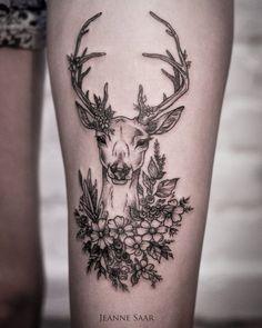 33 ideas tattoo thigh deer ink for 2019 Sternum Tattoo, Tropisches Tattoo, Forearm Flower Tattoo, Tattoo Fonts, Body Art Tattoos, Girl Tattoos, Sleeve Tattoos, Tattoo Thigh, Raven Tattoo