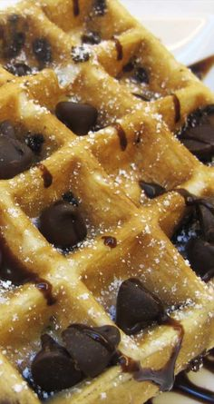 Recipe for Chocolate Chip Belgian Waffles - These amazing chocolate waffles are more like a decadent dessert than anything else. Incredibly quick and simple to make, a perfect start to any morning!