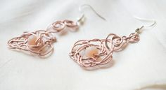 Rose Gold Filled Wire Wrapped Earring Pendant Handmade featured with Beads by UnikacreazioniShop on Etsy