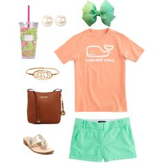 It's Monday by aramzz56 on Polyvore featuring J.Crew, Jack Rogers, MICHAEL Michael Kors, Nina, Vineyard Vines and Lilly Pulitzer