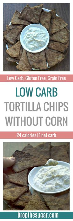 Low Carb Tortilla Chips Without Corn | a low carb snack idea for when you want some chips! These gluten free tortilla chips taste close to blue corn chips without all the corn and wheat. An interest coconut flour recipe to try! Pin now to make later!