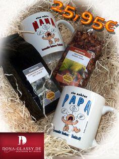 Dieses Geschenk besteht aus zwei Tassen,  einen schwarzen Tee und einen früchte Tee. Ideale Geschenk für werdende Eltern. Für 25,95€.