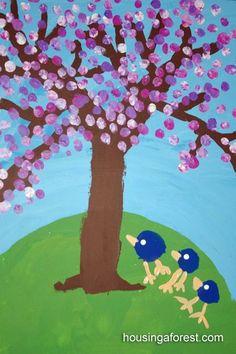 Spring Art for Kids ~ Fingerprint Cherry Tree Spring Art Projects, Spring Crafts, Bird Crafts, Tree Crafts, Kindergarten Art, Preschool Art, Spring Activities, Art Activities, Fingerprint Art