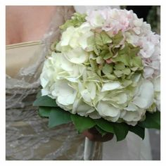 Bride's Beautiful Bouquet Comprised Of: White, Green & Blush Hydrangea (Hortensia)