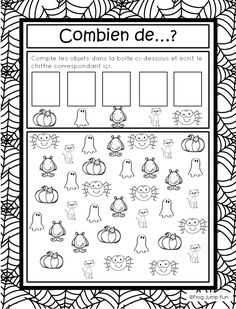 This page has a lot of free Halloween worksheets for kids,parents and preschool teachers. Theme Halloween, Halloween Math, Halloween Books, Halloween Activities, Math Activities, Halloween Worksheets, Worksheets For Kids, Math Worksheets, French Worksheets