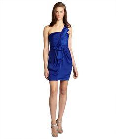 BCBGMAXAZRIA royal blue sateen 'Palais' one shoulder dress