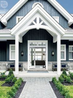 Farmhouse Exterior Design Ideas - The farmhouse exterior design entirely shows the entire design of the house and the household custom as well. The modern farmhouse style is not only for. Exterior Colonial, Modern Farmhouse Exterior, Farmhouse Style, Navy House Exterior, Farmhouse Decor, Ranch Homes Exterior, Stone On House Exterior, Exterior Shutters, Rustic Exterior