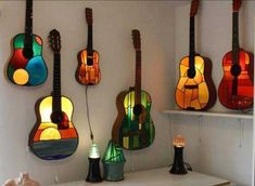 Old guitars made into stained glass lamps! – Linda Davis Old guitars made into stained glass lamps! Old guitars made into stained glass lamps! By thedankone