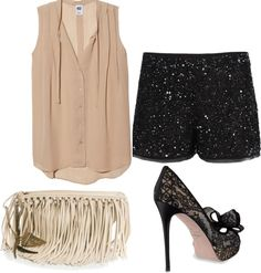"""""""Girls night out"""" by holly-wu on Polyvore...minus the sparkly shorts I love this look!"""