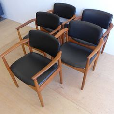 Vinyl #Teak #Dining #Chairs #Danish #Midcentury #Modern #Design