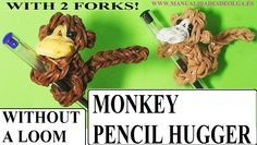 Monkey pencil hugger with two forks without Rainbow Loom Tutorial. (Mini...