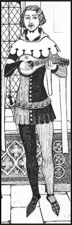 Royal minstrel wearing parti-color attire. (Medieval but not Byzantine.)