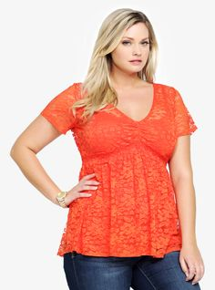 Lace Empire Top From The Plus Size Fashion Community At www.VintageAndCurvy.com