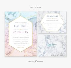 Marble Wedding Invitations & RSVP Cards - Printed, Agate Gold Azure Blue Geometric Rose Quartz Precious Stone Gemstone Serenity Jade - SHOP : chitrap.etsy.com