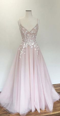 Light pink prom gown,v neck prom dress,tulle prom dresses,long prom dress,straps evening dress DS315 #pink #straps #aline #long #aplliques #prom #okdresses