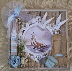 Card made by DT member Astrid with among others Creatables Beach Chair (LR0364), Light House (LR0231) and Craftables Tiny's Ocean Set (CR1279) by Marianne Design