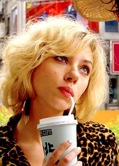 Scarlett Johansson in Lucy (2014). I REALLY like her hair here and I NEEED to see this movie
