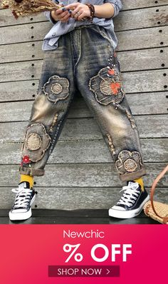 Floral Patch Embroidery Elastic Waist Women Ripped Jeans is a trendy, Newchic provides wide range of best cheap Denim & Jeans for you. Womens Ripped Jeans, Denim Jeans, Patch Bordado, Floral Patches, New Chic, Sweet Dress, Dark Denim, Jeans Style, Levis