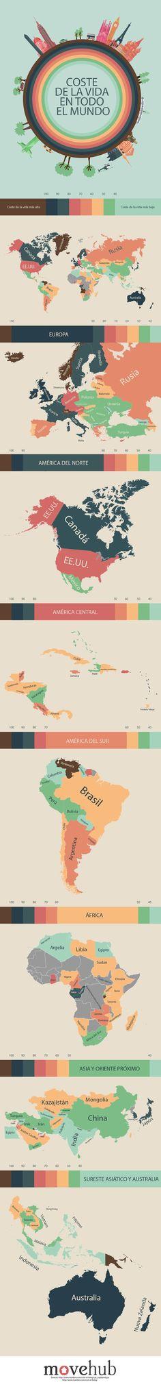 El coste de la vida en todo el Mundo #infografia #infographic #tourism