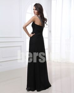 Bersun special occasion dresses Black Elegant Chiffon Shoulder Strap Sweetheart Long Evening Dresses abendkleider free shipping $91.39