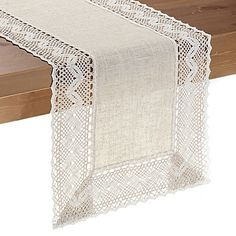 The elegant crocheted Pebble Lace Table Runner is a delightful accent to your tables in your home. This polyester runner features intricate designs that bring out a playful classic feel to any table and décor. Table Runner And Placemats, Burlap Table Runners, Crochet Table Runner, Table Runner Pattern, Dining Table Runners, French Country Decorating, Table Covers, Table Linens, Linen Tablecloth