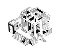 Impossible architectural figure. Black pen. Line. Spot. Geometric. Illustration by Irene Restoy.