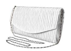 New Trending Clutch Bags: Peach Couture Womens Vintage Satin Pleated Envelope Evening Cocktail Wedding Party Handbag Clutch (White Silver). Peach Couture Womens Vintage Satin Pleated Envelope Evening Cocktail Wedding Party Handbag Clutch (White Silver)  Special Offer: $14.95  344 Reviews New Clutches by Peach Couture. Peach Couture is a registered trademark. FEATURES: The perfect evening piece with a touch of glimmer and...