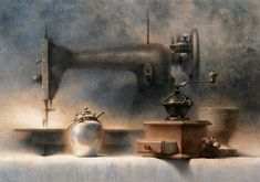 Chien Chung-Wei 『Still Life at midnight』....watercolor, 52 * 74 cm , 2000