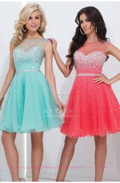 Sequined Illusion Neckline A-line Short/Mini Tulle Beaded Homecoming Dress with Keyhole Back
