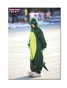Dark Green dinosaur Adult Costume Animal Kigurumi Pajamas Unisex Cosplay Onesie Korea Made.