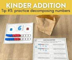 Decomposing numbers in kindergarten is a great building block to addition! Head on over to the blog post to see some activities and ideas for teaching decomposing and addition in kindergarten.