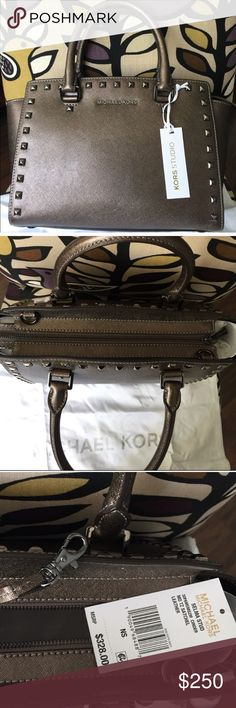 Michael Kors Studded Selma metallic Beautiful metallic Selma studded medium MK bag. 100% Authentic, color: Cinder (mix between bronze and silver) metal: gunmetal - this bag is BRAND NEW WITH TAGS & comes with long strap! I would also consider trades on this bag! KORS Michael Kors Bags Crossbody Bags