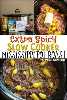 Slow Cooker Spicy Mississippi Pot Roast Do you like food with a spicy kick? Then you will LOVE this Slow Cooker Spicy Mississippi Pot Roast. This recipe has spicer peppers and spicy ranch! Slow Cooking, Instant Pot, Gourmet Recipes, Cooking Recipes, Game Recipes, Easy Pot Roast, The Magical Slow Cooker, Pots, Amigurumi